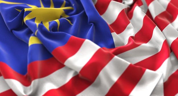 Drapeau de la malaisie ruffled magnifiquement waving macro plan rapproché