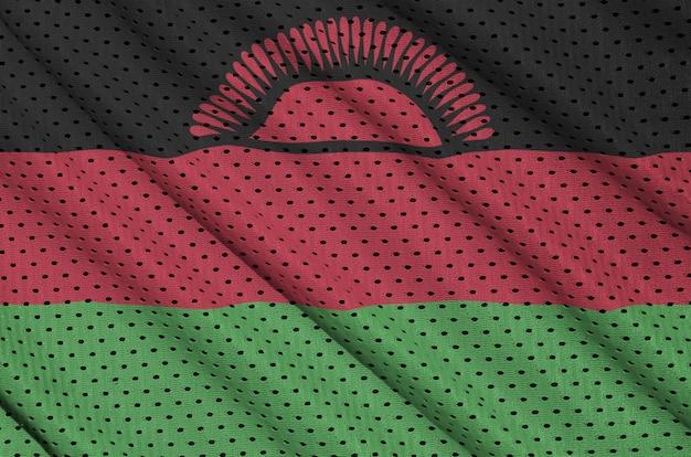 Drapeau malawi imprimé sur un tissu en maille de sportswear en nylon et polyester