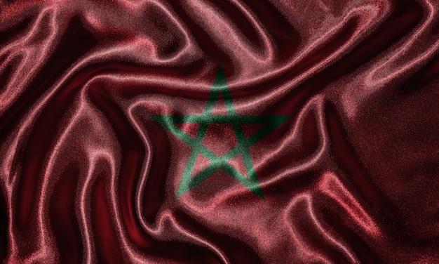 Drapeau maroc - drapeau du pays marocain, fond de drapeau ondulant par textile.