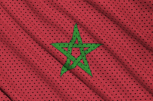 Drapeau maroc imprimé sur un tissu en mesh polyester nylon sportswear