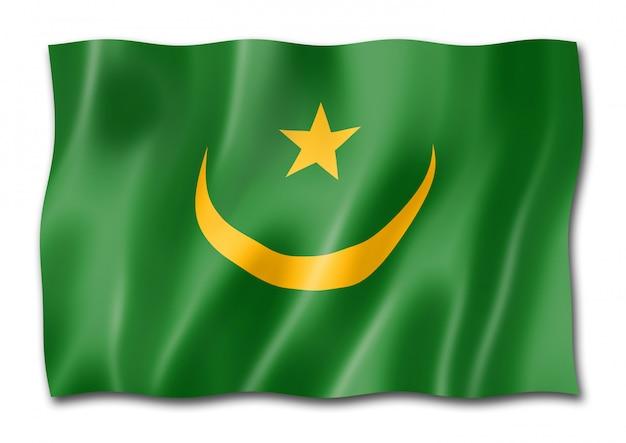 Drapeau mauritanie isolé sur blanc