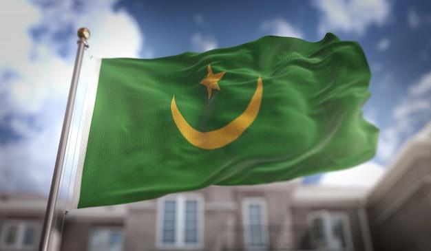 Drapeau de la mauritanie rendu 3d sur fond de ciel bleu