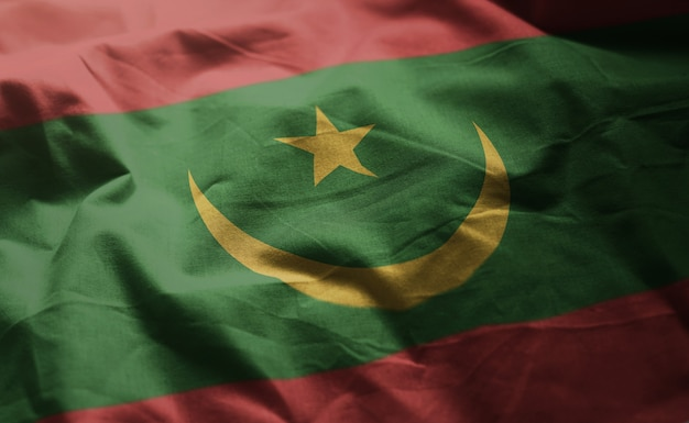 Drapeau mauritanien froissé de près