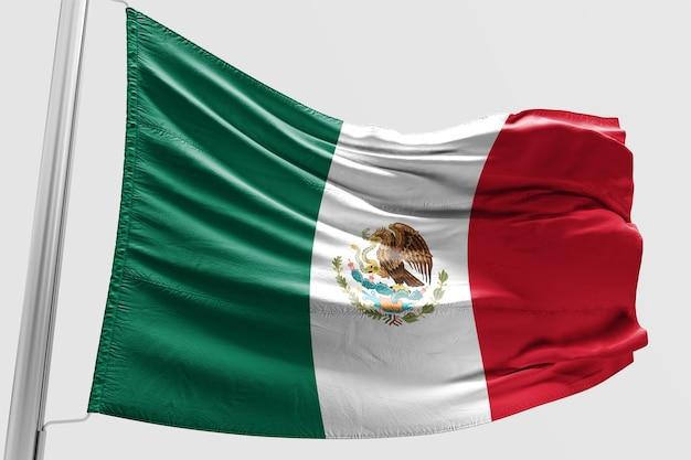 Drapeau mexicain isolé agitant drapeau mexicain réaliste 3d rendu