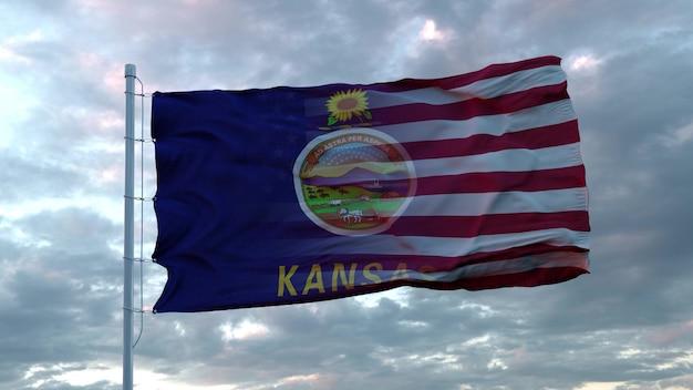 Drapeau mixte des états-unis et du kansas dans le vent