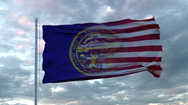 Drapeau mixte des états-unis et du nebraska dans le vent