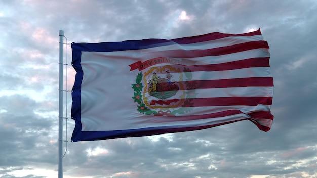 Drapeau mixte des états-unis et de la virginie-occidentale dans le vent