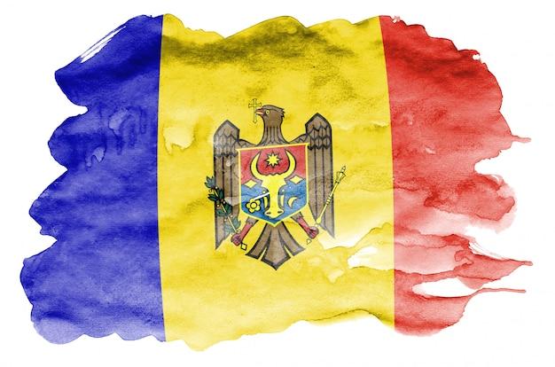 Le drapeau de la moldavie est représenté dans un style aquarelle liquide isolé sur blanc