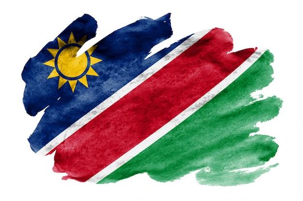 Le drapeau de la namibie est représenté dans un style aquarelle liquide isolé sur blanc