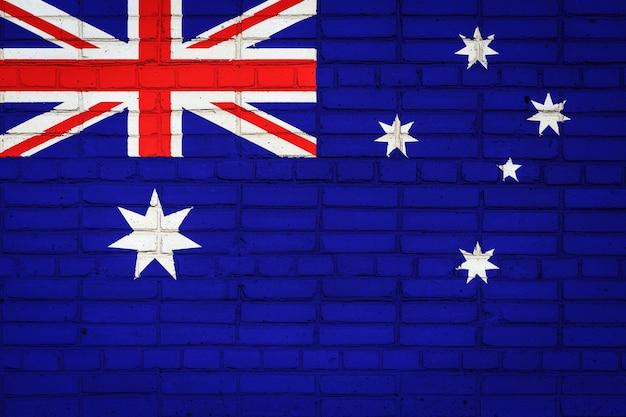 Drapeau national de l'australie représentant sur un vieux mur de briques