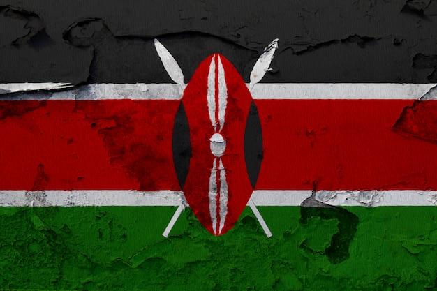 Drapeau national du kenya peint sur un mur de béton
