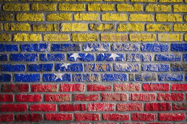 Drapeau national du venezuela sur un vieux mur de briques