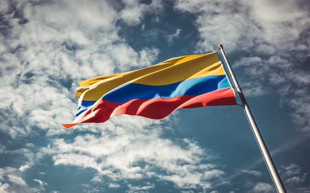 Drapeau national de l'état de la colombie flottant