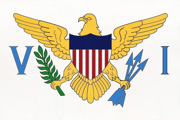 Drapeau national des îles vierges américaines en tissu, fond textile. symbole du territoire des états-unis.