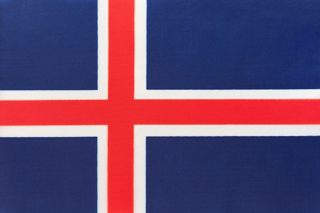 Drapeau national de l'islande, fond textile, symbole du pays européen international,