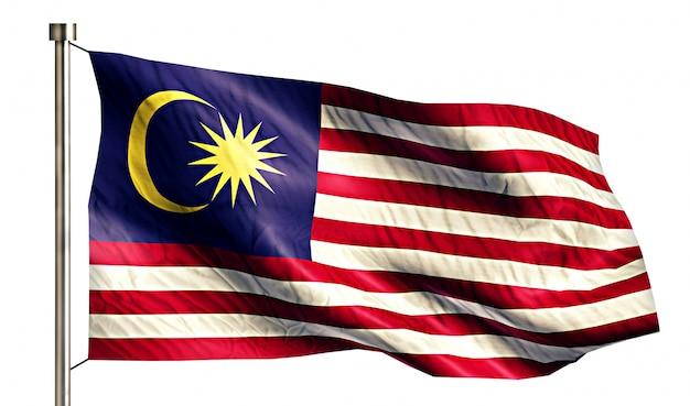 Drapeau national de malaisie isolé 3d fond blanc
