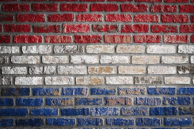 Drapeau national des pays-bas sur un vieux mur de briques