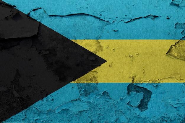 Drapeau national peint des bahamas sur un mur de béton