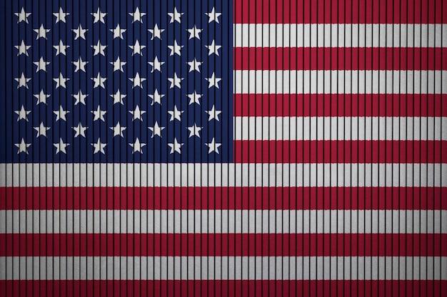 Drapeau national peint des états-unis d'amérique sur un mur de béton