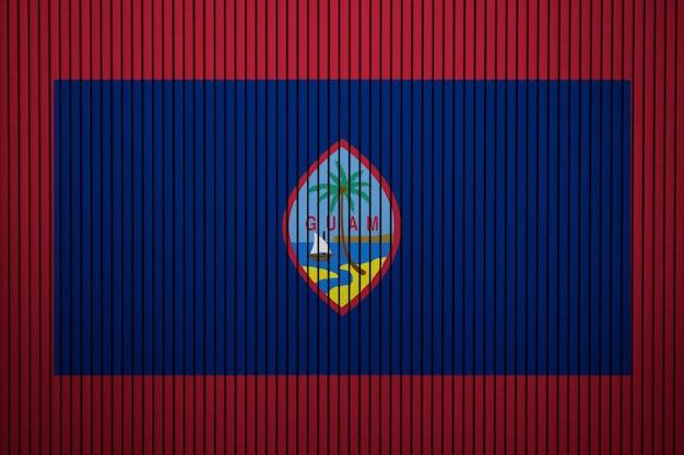Drapeau national peint de guam sur un mur de béton
