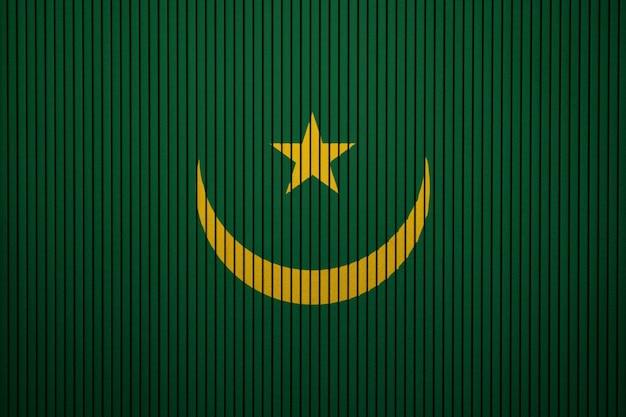 Drapeau national peint de mauritanie sur un mur de béton