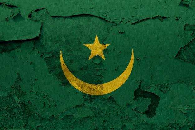 Drapeau national peint de la mauritanie sur un mur de béton
