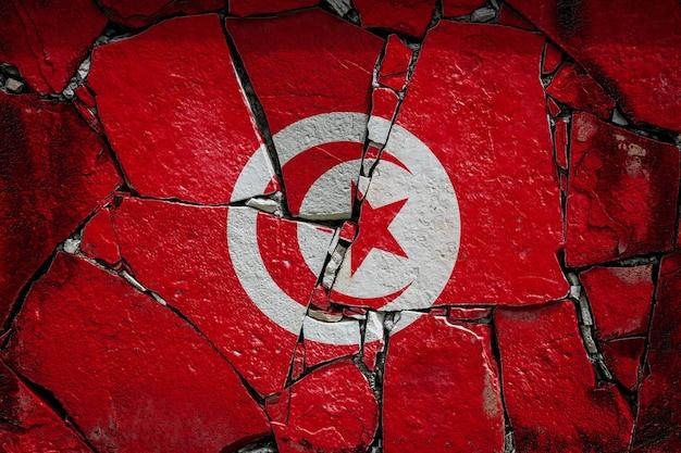 Drapeau national de la tunisie représentant en couleurs de peinture sur un vieux mur de pierre. bannière de drapeau sur fond de mur cassé.