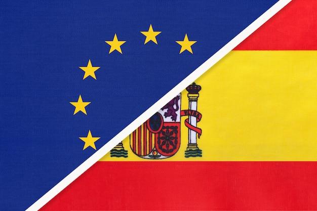 Drapeau national union européenne ou ue contre espagne
