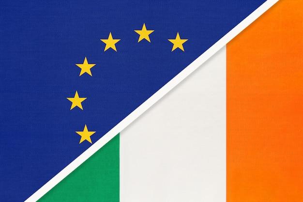 Drapeau national union européenne ou ue contre irlande