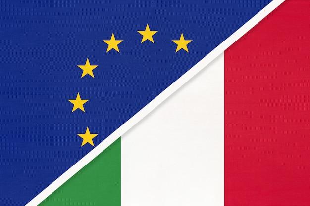 Drapeau national union européenne ou ue contre italie