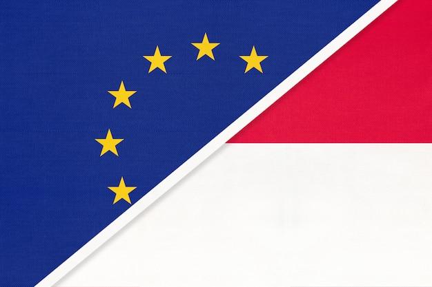Drapeau national union européenne ou ue contre monaco