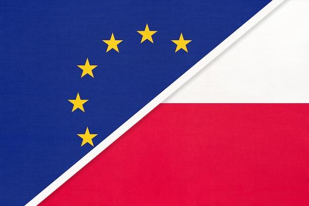 Drapeau national union européenne ou ue contre pologne