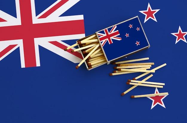 Le drapeau néo-zélandais est représenté sur une boîte d'allumettes ouverte, à partir de laquelle plusieurs allumettes tombent et repose sur un grand drapeau