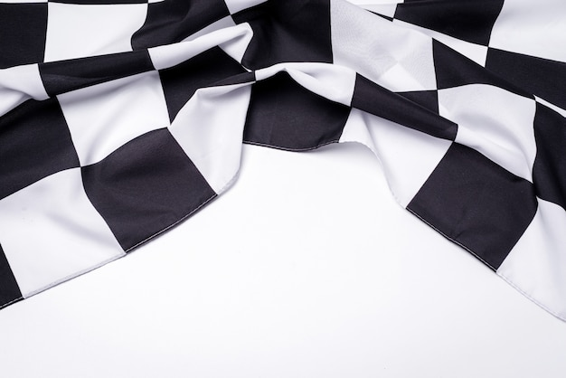 Drapeau noir et blanc à damier. espace de copie.