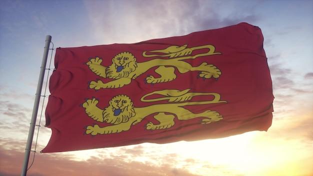 Drapeau de la normandie, france, ondulant dans le vent, le ciel et le soleil. rendu 3d