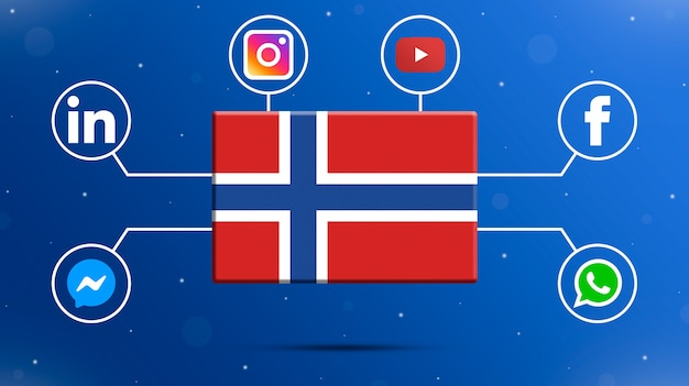 Drapeau de la norvège avec les logos des médias sociaux 3d