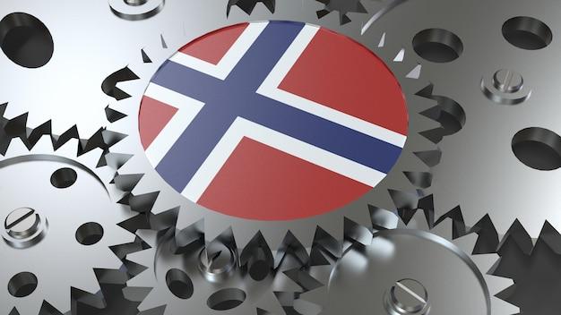 Drapeau norvégien avec engrenages