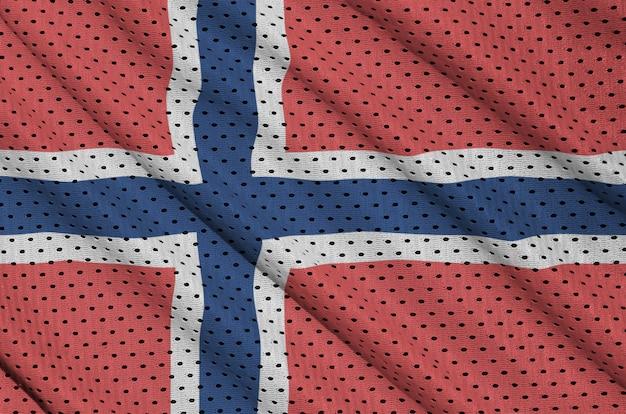 Drapeau norvégien imprimé sur un tissu de sportswear en nylon et polyester