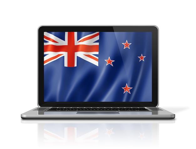 Drapeau de la nouvelle-zélande sur écran d'ordinateur portable isolé sur blanc. rendu d'illustration 3d.