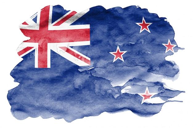 Drapeau de la nouvelle-zélande est représenté dans un style aquarelle liquide isolé sur blanc