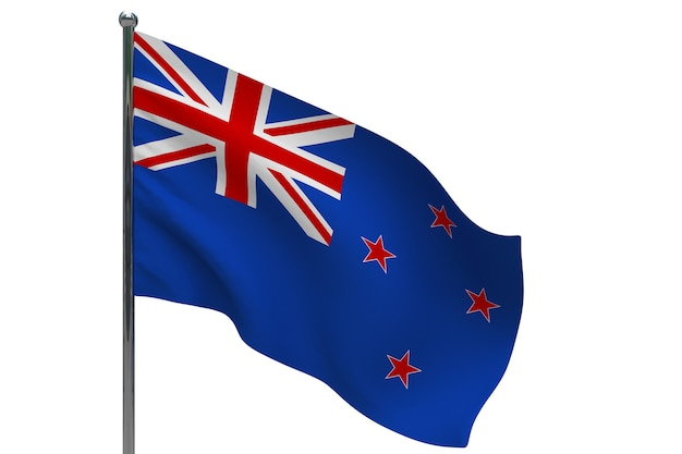Drapeau de la nouvelle-zélande sur le poteau. mât de drapeau en métal. drapeau national de la nouvelle-zélande illustration 3d sur blanc