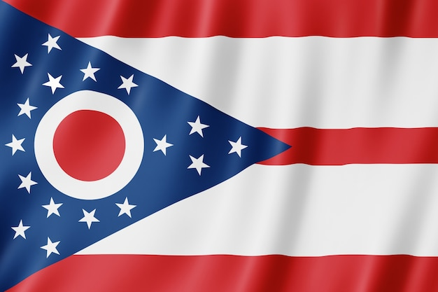 Drapeau de l'ohio, états-unis. illustration 3d du drapeau de l'ohio agitant.