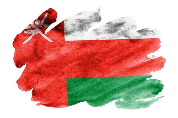 Le drapeau d'oman est représenté dans un style aquarelle liquide isolé sur blanc