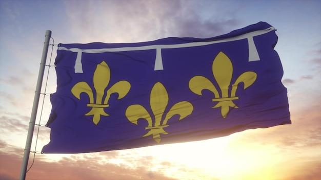 Drapeau orléanais, france, ondulant dans le vent, le ciel et le soleil. rendu 3d