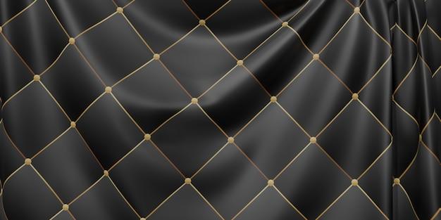 Le drapeau orné plisse les vagues du motif de texture du tissu barre de courbe dynamique illustration 3d