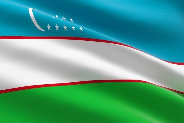 Drapeau de l'ouzbékistan. 3d illustration du drapeau ouzbek en agitant