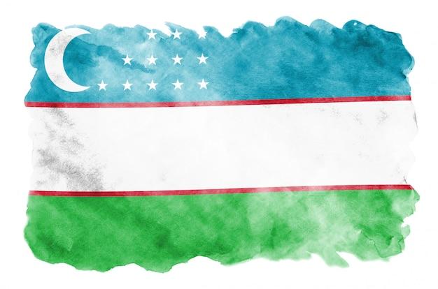 Le drapeau de l'ouzbékistan est représenté dans un style aquarelle liquide isolé sur blanc