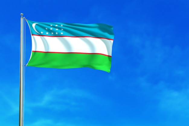 Drapeau de l'ouzbékistan sur le fond de ciel bleu rendu 3d