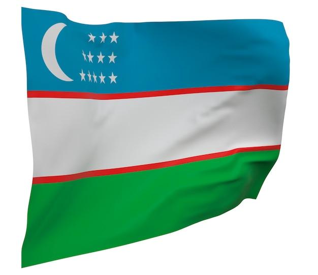 Drapeau de l'ouzbékistan isolé. agitant la bannière. drapeau national de l'ouzbékistan