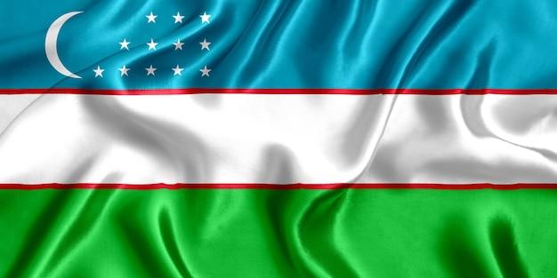 Drapeau de l'ouzbékistan en soie close-up